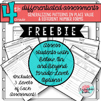Find out how to used leveled math assessments in a variety of ways for your upper elementary 3rd, 4th, or 5th grade students. Great for covering standards! You'll be able to make the most of your math instruction to help your struggling learners, those on target, and some that need enrichment. Use these as a pre or post assessment, for centers or stations, and much more. Plus there's a FREE download within the post as well! {third, fourth, fifth graders - freebie}