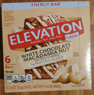 Unopened box of Elevation by Millville White Chocolate Macadamia Nut Energy Bars, from Aldi