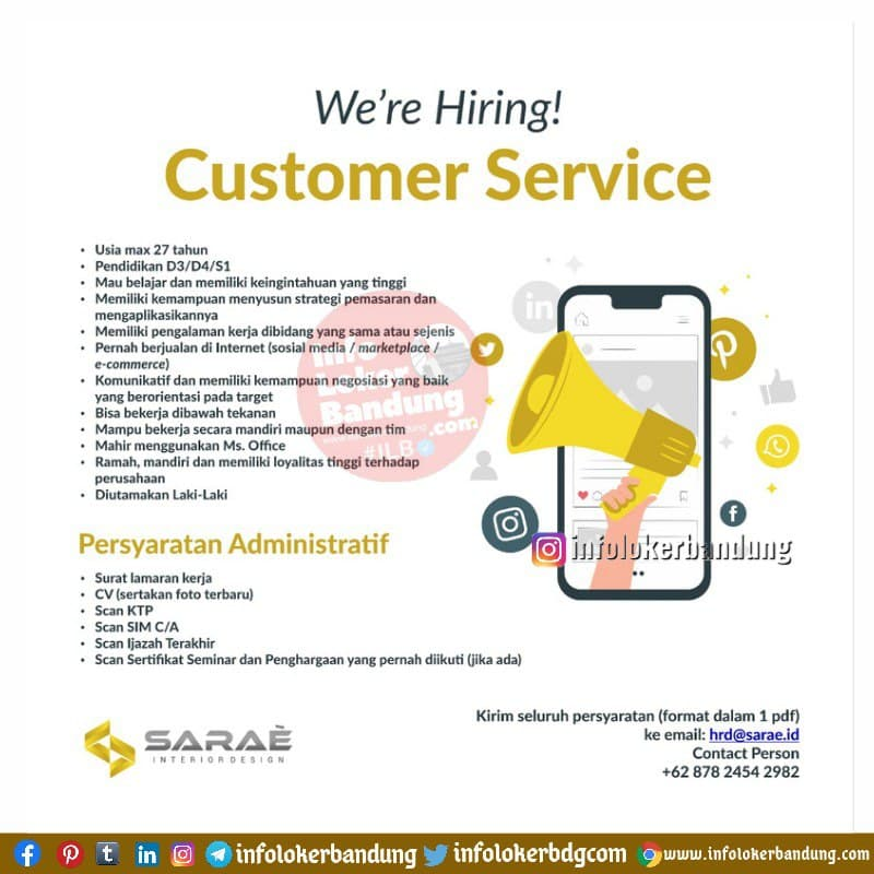 Lowongan Kerja Customer Service Sarae Bandung April 2021