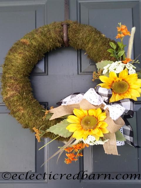 Fall Sunflower Wreaths. Share Now. #wreaths #sunflowers #fallwreaths #eclecticredbarn