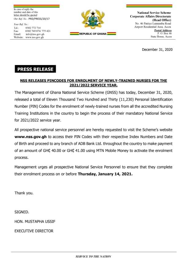 Ghana NSS Registration Guidelines 2021/2022 | Nurses & Midwives