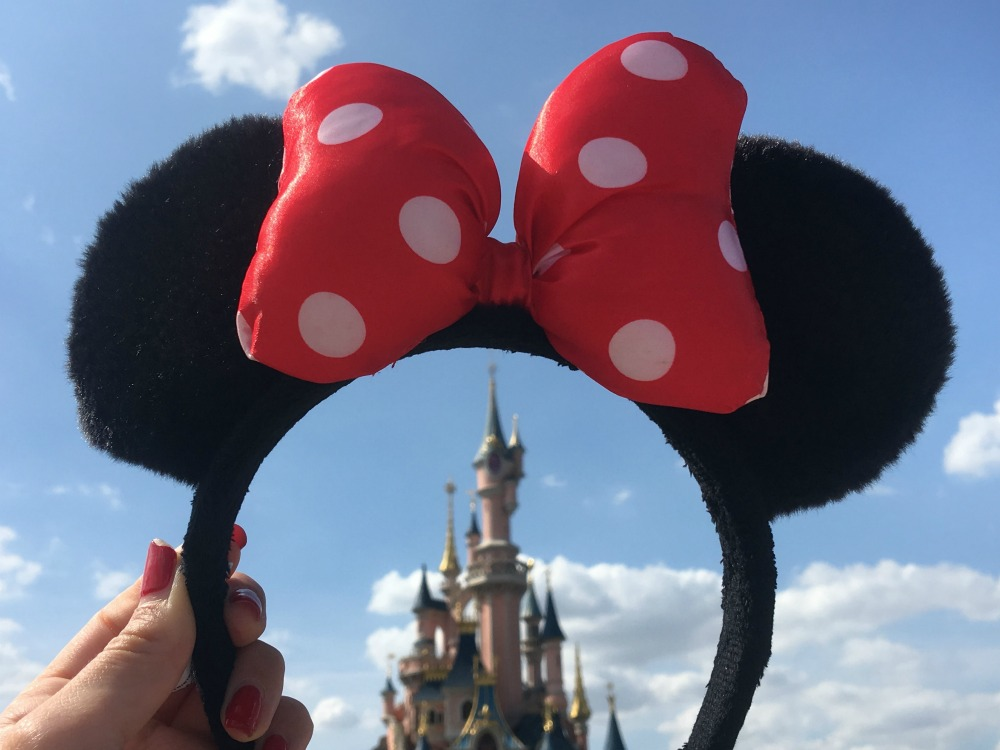 mouse ears in front of walt disney world