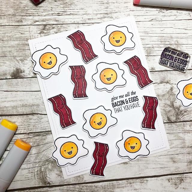 Sunny Studio Stamps: Breakfast Puns Bacon & Eggs Card by Natasha