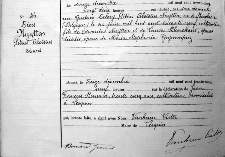 Acte de décès de Pierre Nuytten le 12.12.1935 à Lesquin