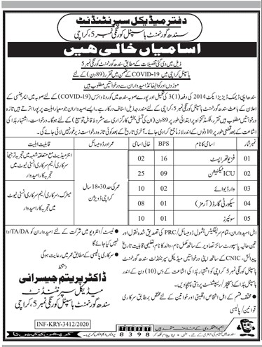 Government Hospital Karachi Sindh Jobs Advertisement in Pakistan For Male and Female Jobs 2021