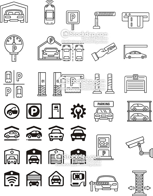 garage icon set free stock