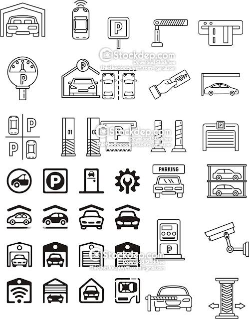 garage icon set free stock