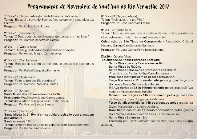 Paróquia de Sant'Anna divulga Programação da Pré e da Novena da Padroeira