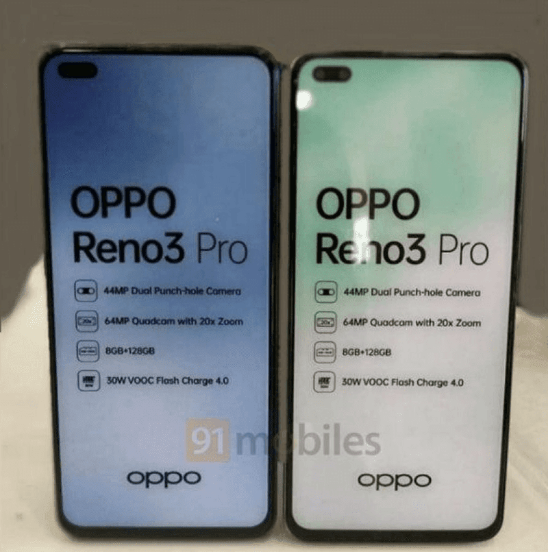 OPPO Reno3 Pro India will come with a dual punch-hole in front