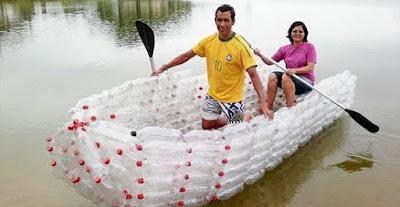 reciclar reciclando reciclagem diy faça voce mesmo garrafa pet embalagem artesanato reutilizavel reutilizando sustentabilidade canoa barco meio de transporte embarcação