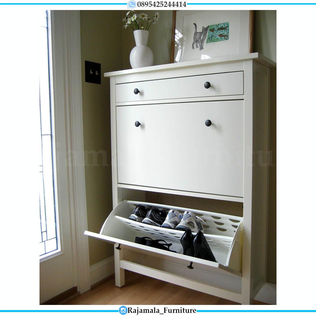 Tempat Sepatu Minimalis Putih Duco Luxury Modern Design RM-0562