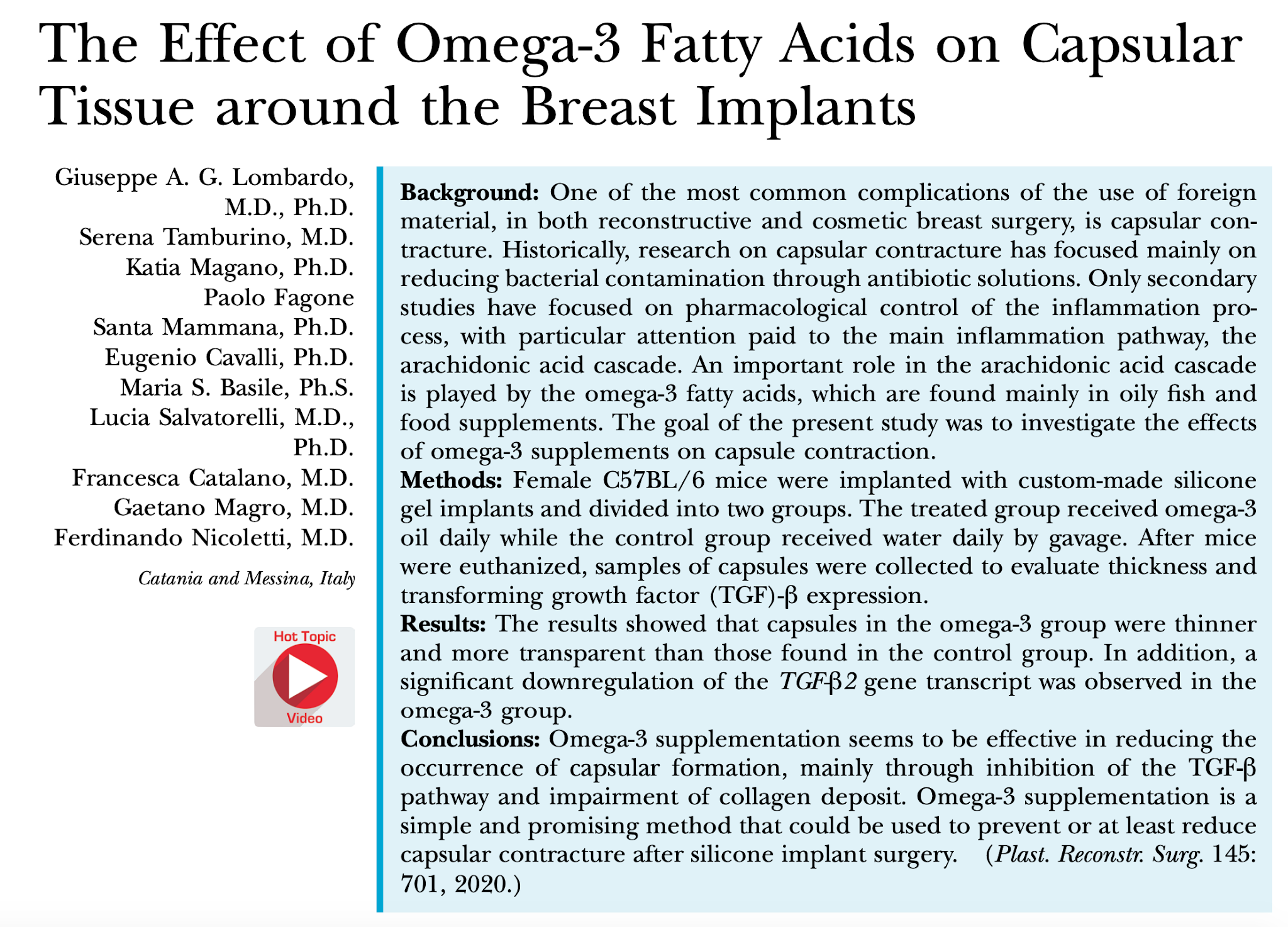 Omega-3 Fatty Acids May Prevent Breast Implant Complications, Like Capsular Contracture