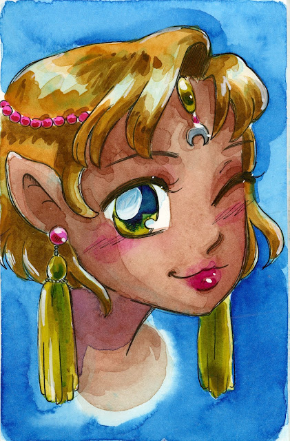 Elf girl drawn in fountain pen on Fluid EZ Block Hotpress paper