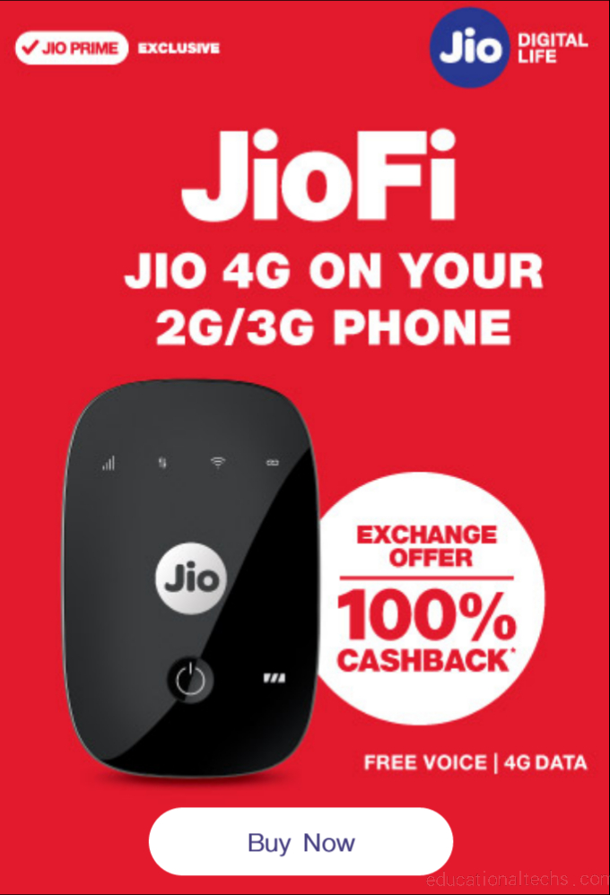 JioFi></noscript></amp-img><br /> <h2> Company Has Come Up With Two Plans</h2> <h3> 100% Cashback Offer </h3> According to 100% cashback offer is listed on the Jio website under the devices segment. JioFi device is a hotspot device, which lets users rely on a Jio SIM to set up a WiFi hotspot and power other devices.<br /> <amp-ad data-ad-client=