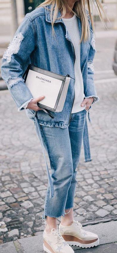 denim casual outfit idea : jacket + boyfriend jeans + sweater + bag + boots