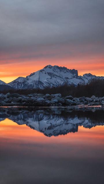 Wallpaper mountain, lake, snow, sunset