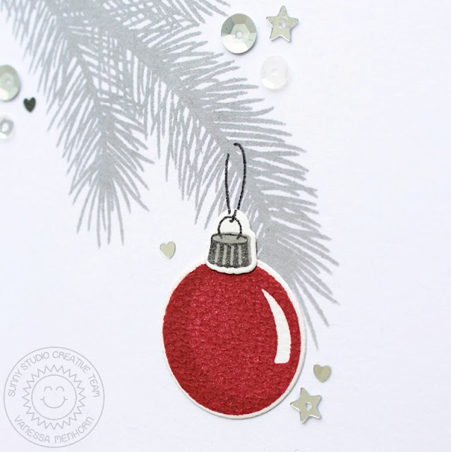 Sunny Studio Stamps: Holiday Style Clean & Simple Red Ornament Christmas Card by Vanessa Menhorn.