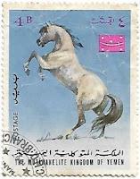 Selo Cavalo árabe empinando