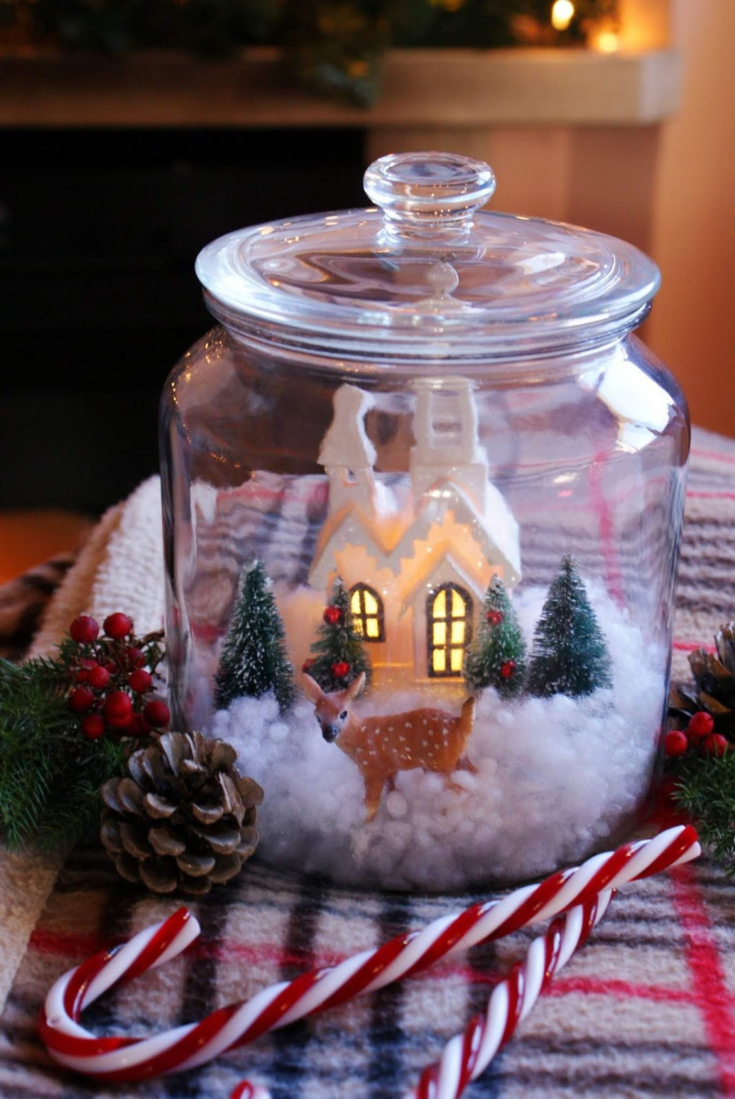 Snow Scene Jar by Francines Place Blog
