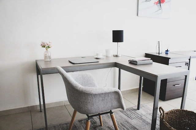 A corner desk in a home office