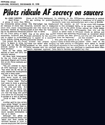 Pilots Ridicule AF Secrecy On Saucers Newark Star-Ledger (Edit 2)12-22-1958