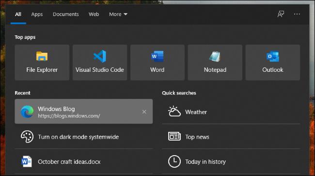 الوضع المظلم وإدخالات السجل في واجهة بحث Windows 10.