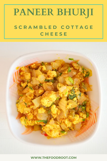 Paneer bhurji, a simple and quick North Indian breakfast where cottage cheese is scrambled and sautéed with ginger, garlic, onions, tomatoes and spices.