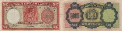 Bolivia: Billete de 5000 bolivianos o 500 bolívares de 1942