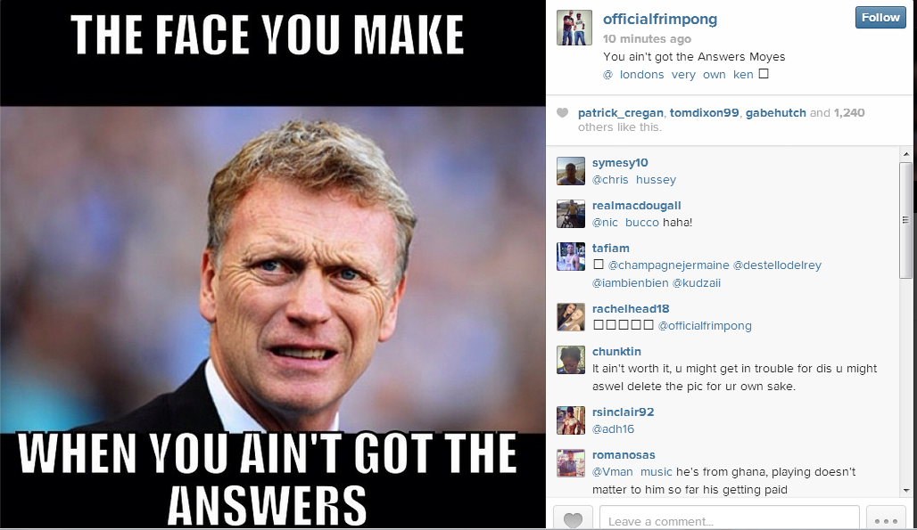 Arsenal Player Disses David Moyes On Instagram