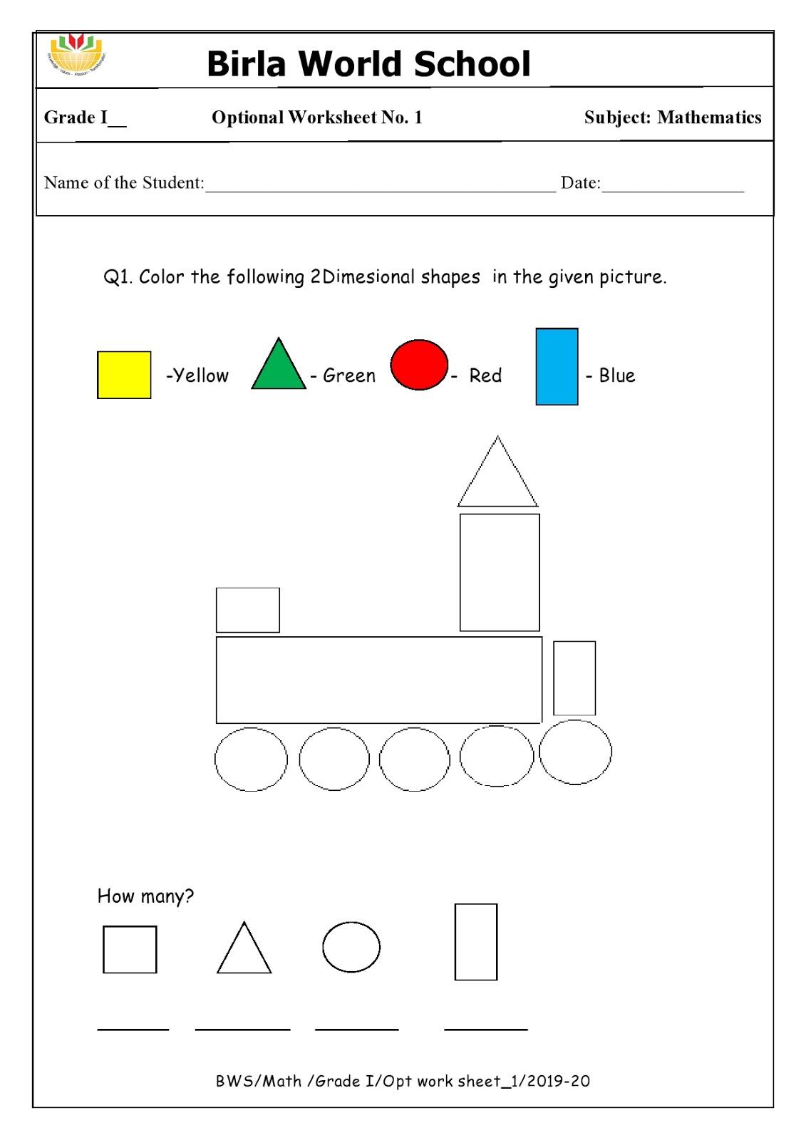 Homework For Grade 1 As On 12 11