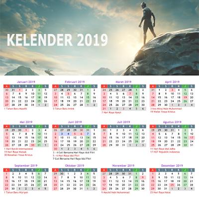 Black Pathner Desain Kelender 2019
