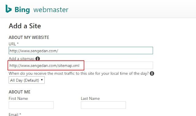 Cara submit ke pencarian Bing