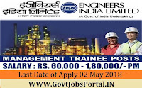Engineers India Limited Recruitment 2018– 67 Management Trainee
