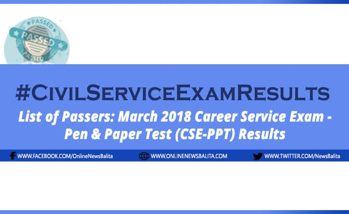 March 2018 Civil Service Exam Results CSE-PPT - Region 11