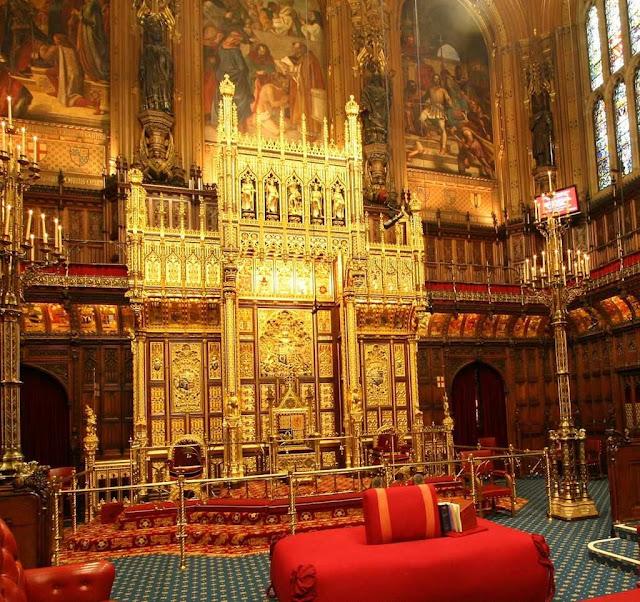 Sala dos Lords, trono da rainha, Pugin
