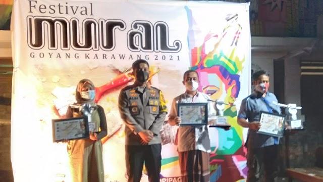 Polres Karawang Bersama Komunitas Gelar Festival Mural Goyang Karawang 2021