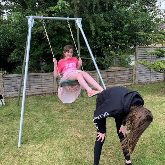stephs two girls on swing in garden