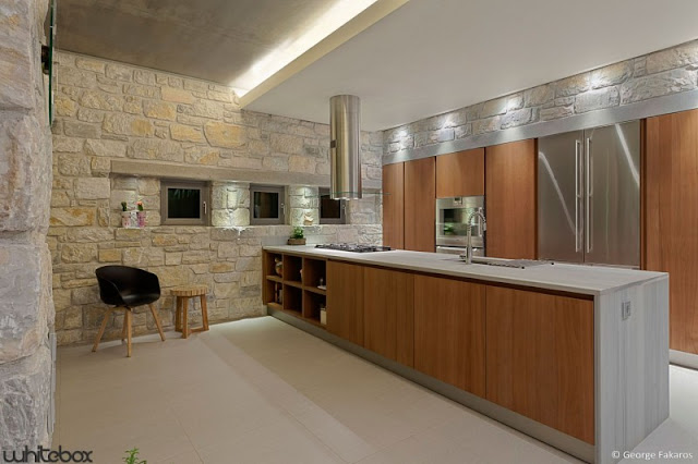 clean elegant kitchen Stone House in Anavissos