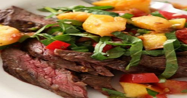 Grilled Flank Steak With Peppery Peach Salsa Recipe