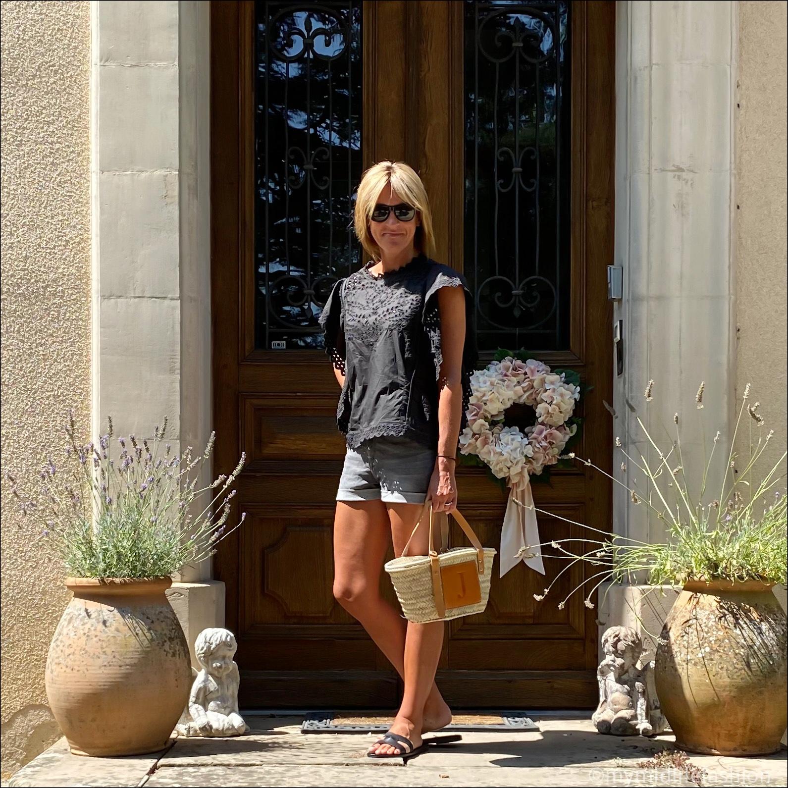 my midlife fashion, Isabel Marant Etoile broderie blouse, h and m denim shorts, lada jewelry basket bag, Ancient Greek desmos leather slides