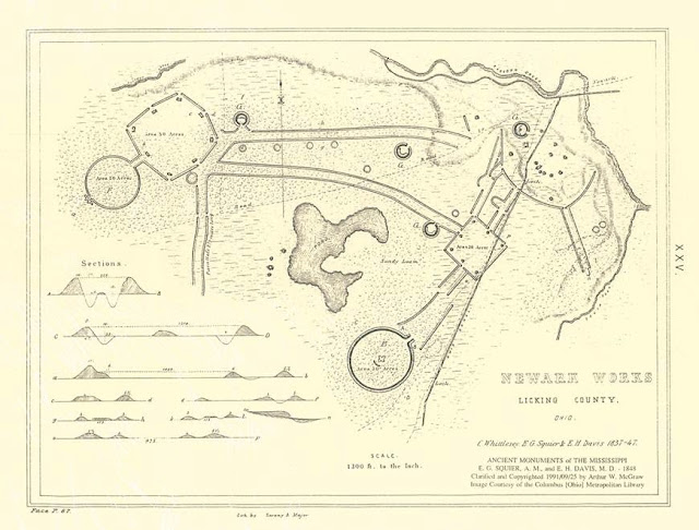 Map of the Newark Earthworks, Plate XXV. Ancient Monuments of the Mississippi Valley. Squier & Davis, Smithsonian Institute, 1848. Page 67.
