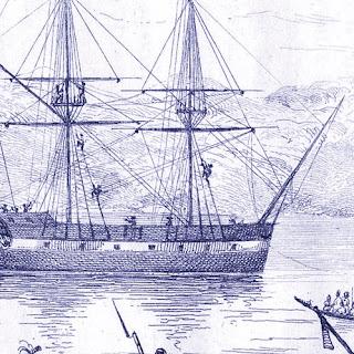 El velero Boyd, fondeado en la bahía de Whangaroa