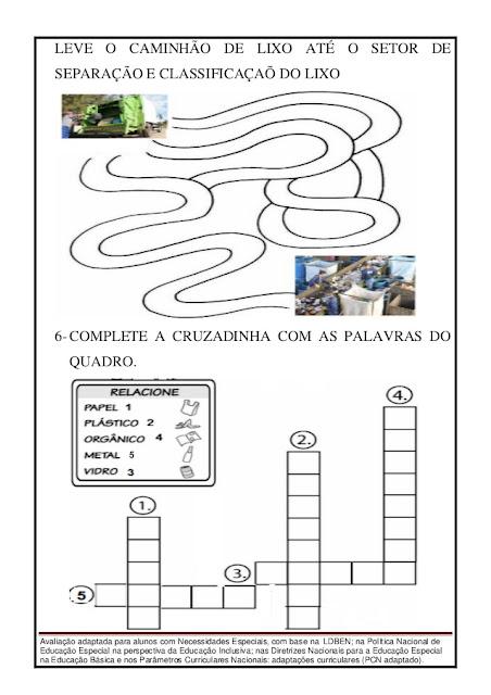 AVALIAÇÃO DE CIÊNCIAS 1 ANO SOBRE ÁGUA E LIXO