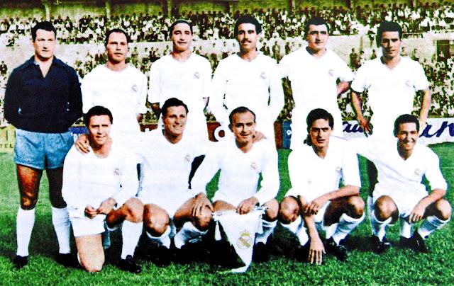 REAL MADRID C. F. Temporada 1955-56. Juan Alonso, Navarro, Oliva, Rafa Lesmes II, Muñoz, Zárraga; Molowny, Pérez Payá, Di Stéfano, Rial y Gento. SERVETTE F. C. GENÈVE 0 REAL MADRID C. F. 2. 08/09/1955. 1ª Copa de Europa, 1ª ronda, octavos de final, partido de ida. Ginebra, Suiza, Parc des Sports des Chamilles. GOLES: 0-1: 74', Miguel Muñoz. 0-2: 89', Héctor Rial.