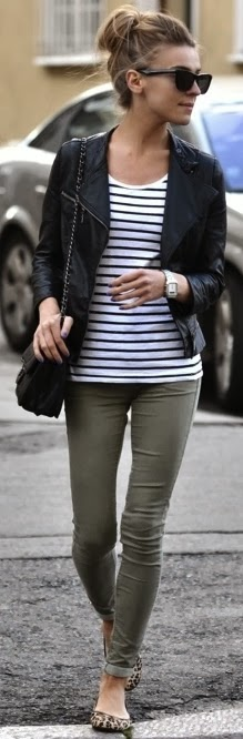 Women's Fashion Leopard flats should also be in my life. moto jacket + stripes + leopard flats