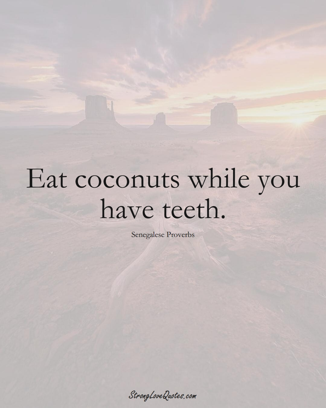 Eat coconuts while you have teeth. (Senegalese Sayings);  #AfricanSayings