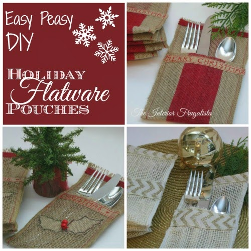 Three sets of DIY holiday flatware pouches