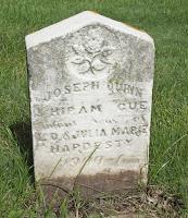 Image of Hiram Cue Hardesty grave marker.