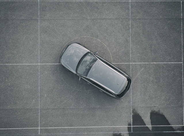 View of car from overhead