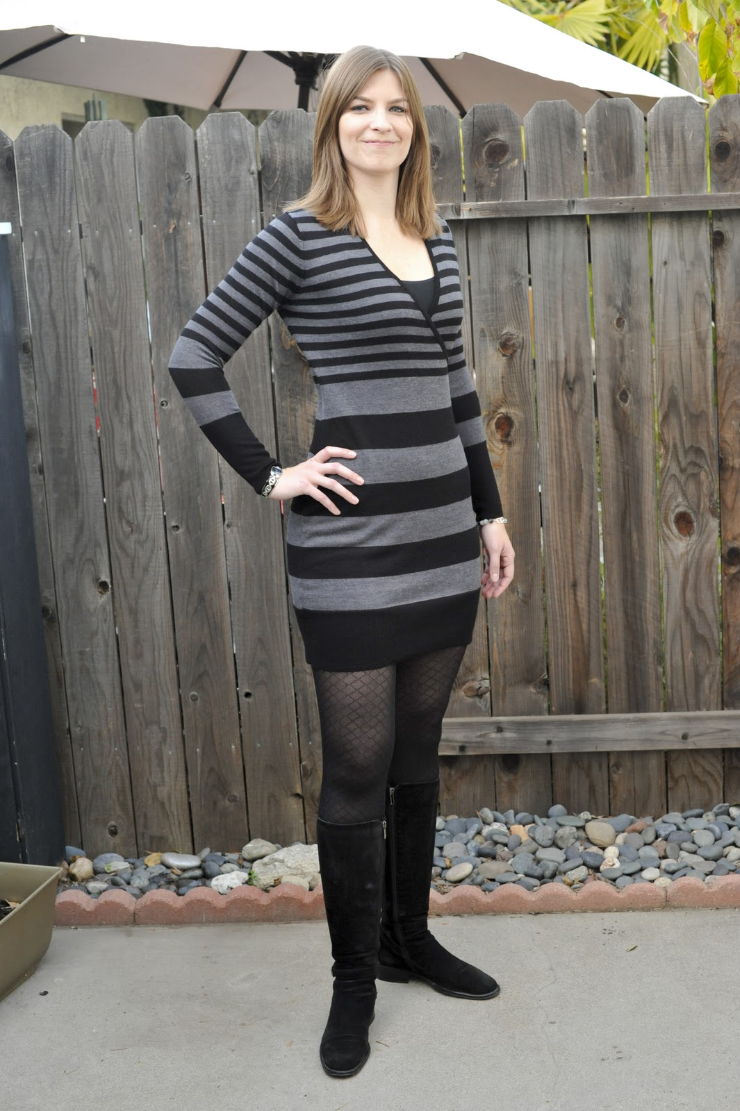 5 Ways to Wear a Sweater Dress. Instead of passing it up, all you need to do is add a pair of black leggings to your outfit. Leggings turn your sweater dress into a long top creating a look that is hip and modern. 4. Try a Cold Shoulder Sweater Dress This fall, a cold shoulder dress .